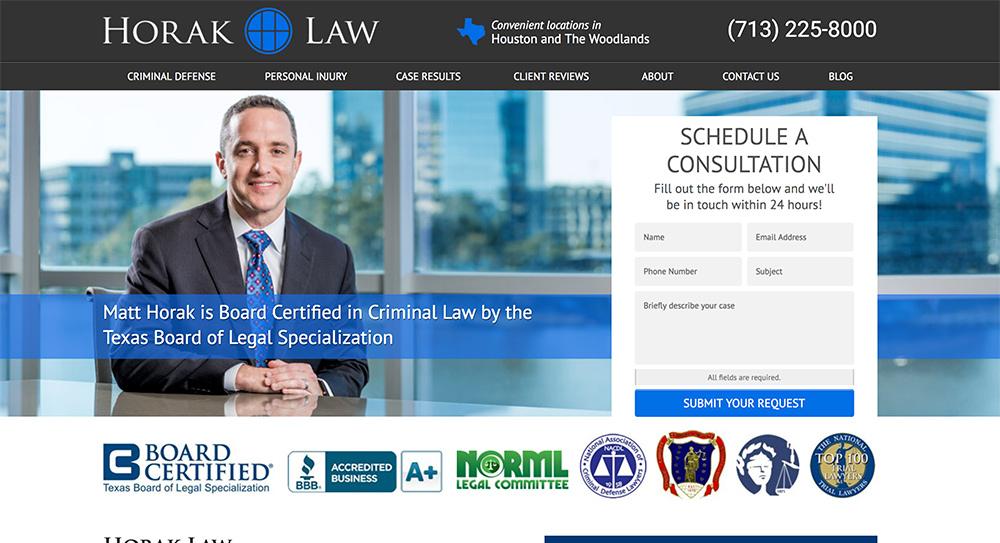 Horak Law Website