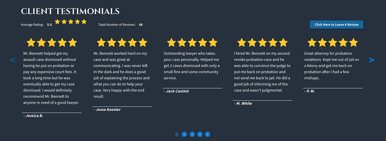 client reviews example screenshot